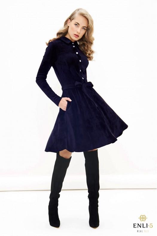 Tamsiai mėlyna, veliūrinė, kliošinė suknelė VILTĖ