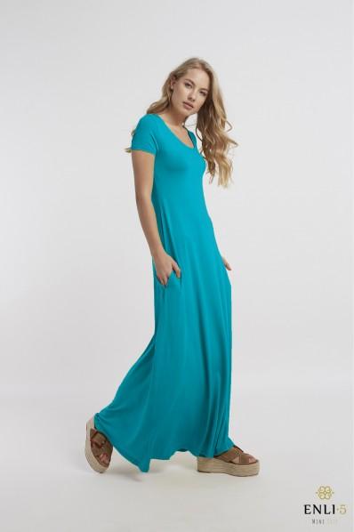 Turkio spalvos ilga platėjanti suknelė