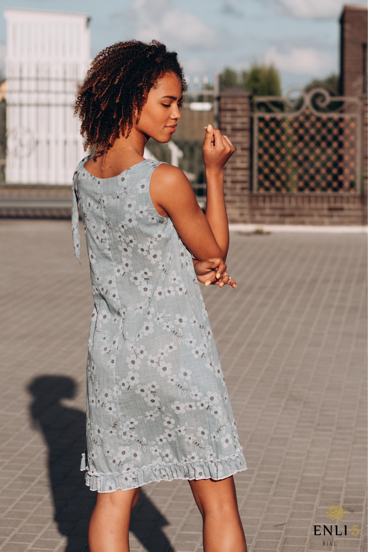 Melsva lininė gėlėta suknelė VALERY