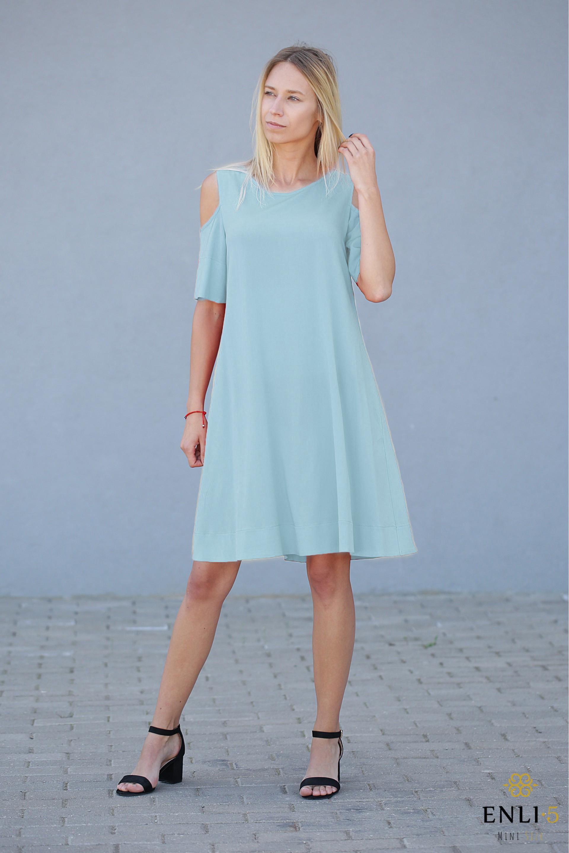 Vandens spalvos suknelė | Suknelė su kišenėmis VEGA