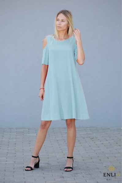 Vandens spalvos suknelė   Suknelė su kišenėmis VEGA
