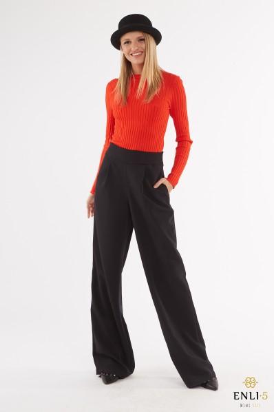 Juodos, ilgos, plačios kelnės su įsiuvais VIKI
