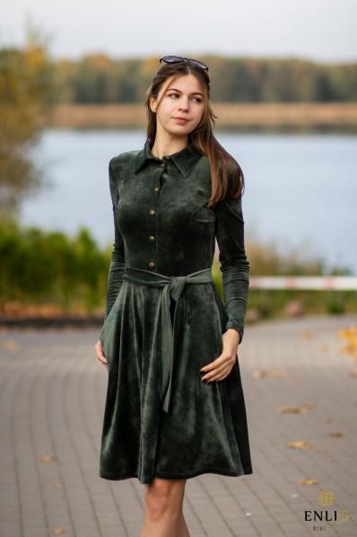 Chaki spalvos veliūrinė, kliošinė suknelė VILTĖ