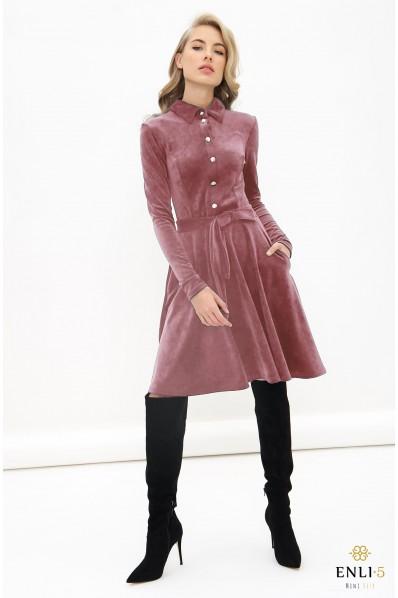Pelenų rožinė, veliūrinė suknelė VILTĖ