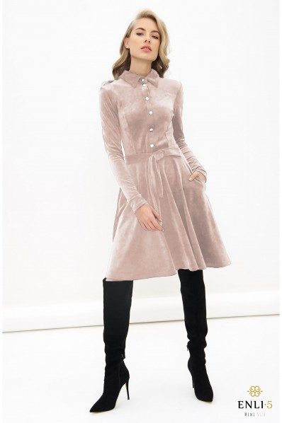 Pelenų rožinės spalvos, veliūrinė, kliošinė suknelė VILTĖ