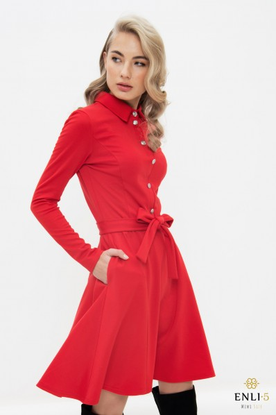 Raudona, trikotažinė, kliošinė suknelė VILTĖ
