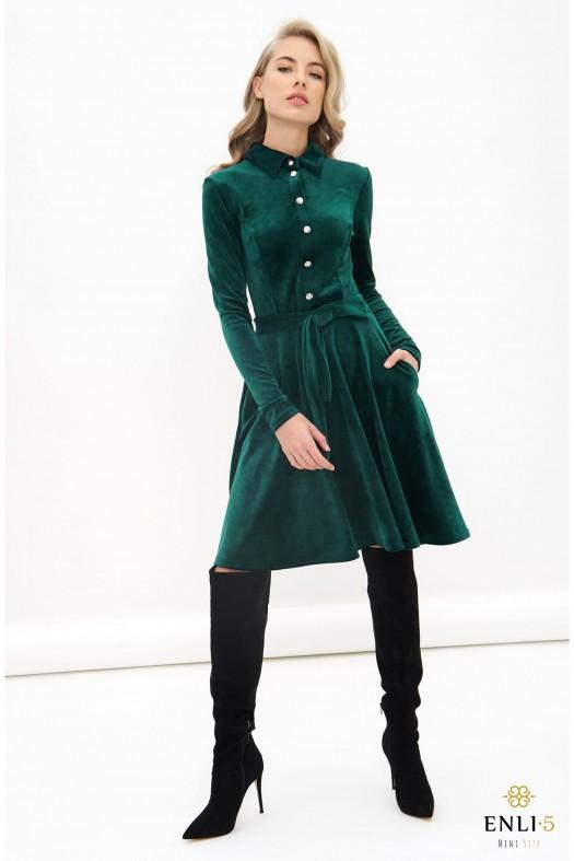 Smaragdinė, veliūrinė, kliošinė suknelė VILTĖ