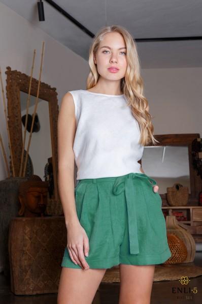 Klasikiniai žali šortai | Moteriški šortai