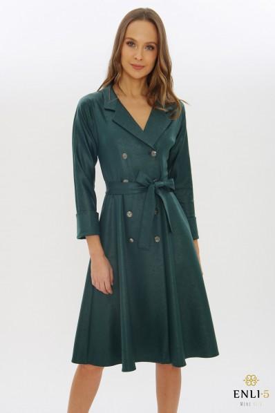 Žalia imitacinės odos suknelė - švarkas