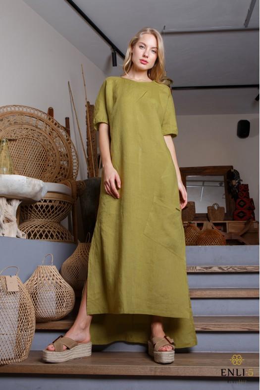 Žalsva, ilga lininė suknelė trumpomis rankovėmis