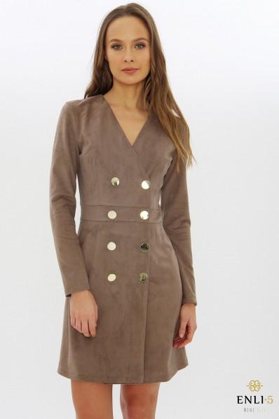 Zomšinė kapučino suknelė | Elegantiška suknelė