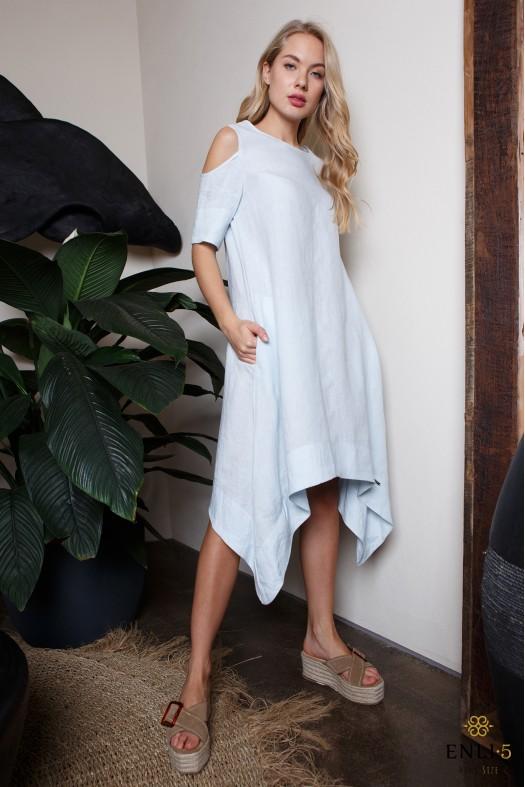 Šviesiai mėlyna, asimetriška lininė suknelė MEGAN